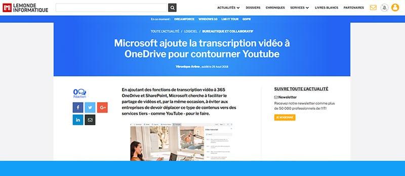 Microsoft se lance dans la transcription de la vidéo et l'audio sur OneDrive