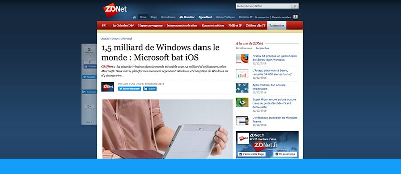 Microsoft : 1,5 milliards d'utilisateurs de Windows